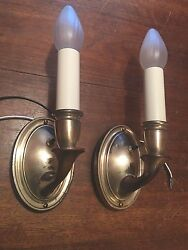 Brass Sconces Vintage Antique Wired Pair Electric Candles 4b