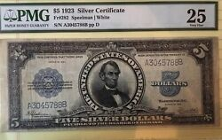 1923 5 Silver Certificate Porthole Graded By Pmg As Vf 25 Fr 282