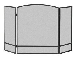 3-panel Arch Screen W/ Double Bar For Fireplace, Wood Burner Powder Coated Black