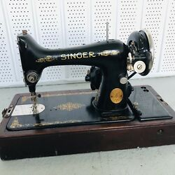Vintage Singer Sewing Machine From 1920s. Untested. Bentwood Case Included.