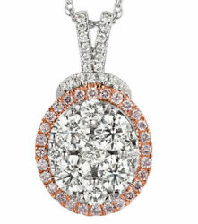 ESTATE 1.90CT DIAMOND 14KT WHITE GOLD 3D CLASSIC CLUSTER OVAL FLOATING PENDANT