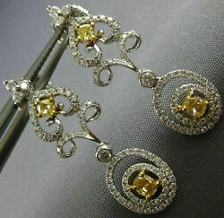Estate 1.21ct White And Fancy Yellow Diamond 18k 2 Tone Gold Oval Hanging Earrings