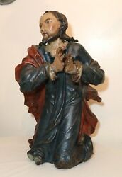 Huge Antique 1600and039s Hand Carved Polychromed Wood Religious Jesus Saint Sculpture