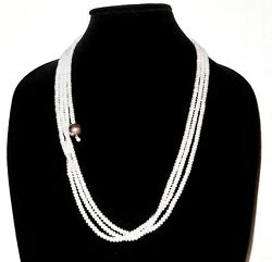 Sterling Silver 3-strand Snow White Button Pearl Necklace 26 Pearl Tassel 87g