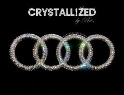 Crystallized Emblem For Audi Front Badge Rings Bling Made W/ Crystals