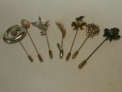 Lot Of 7 Pc High End Vintage Gold Tone Hat Stick Pins