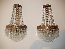 Old Huge French Crystal Prisms Bronze Sconces Empire Rare 7 Tiers Vintage