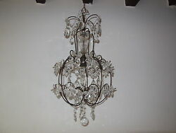 C 1920 French Clear Crystal Prisms Flowers Chandelier Vintage Daisy Beautiful