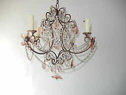 Stunning French Maison Bagues Pink Crystal Prisms Flowers Chandelier