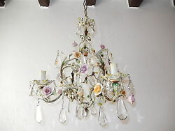 C 1920 French Tole Pastel Porcelain Flowers And Crystal Prisms Chandelier Wow