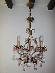 C 1940 French Pink Prisms Beaded Crystal Flowers Roses Helix Tole Chandelier