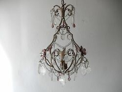 C 1920 French Beaded Amethyst Murano Drops Crystal Prisms And Flowers Chandelier