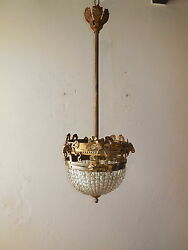 C 1920 French Cast Bronze Crystal Beaded Dome Bronze Rams Head Rare Chandelier