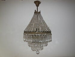 C 1930 French Empire Oval Crystal Beaded 4 Tiers Prisms Rare Chandelier Old