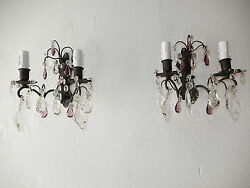C 1910 French Black Brass Amethyst And Clear Crystal Prisms Sconces