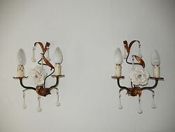 C 1920 Italian Rare White Opaline Drops And Beads Murano Tole Huge Rose Sconces