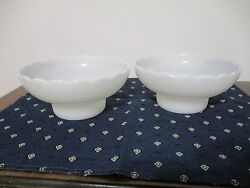 Rare Pair Of Vintage E.o. Brody Green Tinted Milk Glass Pedestal Serving Dishes