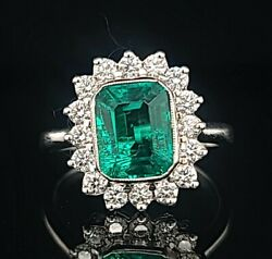 14k White Gold Ring 2.39ct. Gem Colombia Green Emerald In Emerald Shape