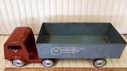 V Line Pressed Tin Tractor Trailer - Good Condition - Made In Canada
