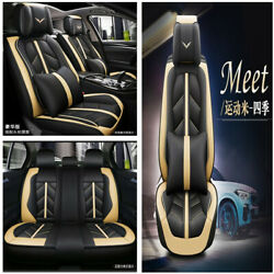Luxury Sport Style PU Leather Car Seat Cover Cushion wHeadrests