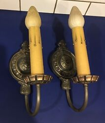 Wired Pair Sconces Vintage Electric Candles Nice Dark Patina 15e