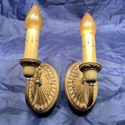Highly Decorative Early Raw Brass Sconces With Original Patina Wired Pair 2d