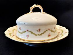 Antique Covered Butter Dish W Guerin Porcelain Limoges Pink Roses Round Ice Tray