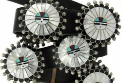 Zuni Handmade Sterling Silver Mother Of Pearl Inlay Sun God Concho Belt