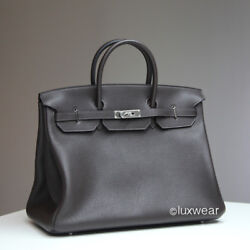 Ebene & Silver 40cm AUTHENTIC HERMES BIRKIN BAG