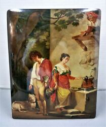 Rare Russian Fedoskino E. Staryk Handpainted And Mother Of Pearl Shell Lacquer Box