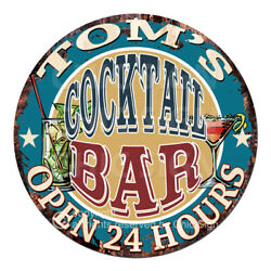 Cpco-0154 Tom's Cocktail Bar Tin Sign Valentine Father's Day Christmas Gift Idea