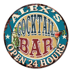Cpco-0156 Alex's Cocktail Bar Tin Sign Valentine Father's Day Christmas Gift