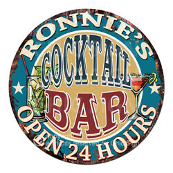 Cpco-0158 Ronnie's Cocktail Bar Tin Sign Valentine Father's Day Christmas Gift