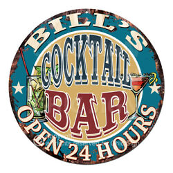 Cpco-0159 Bill's Cocktail Bar Tin Sign Valentine Father's Day Christmas Gift