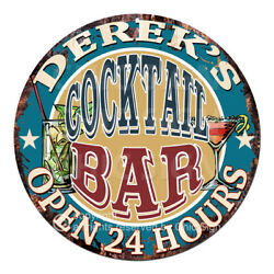 Cpco-0163 Derek's Cocktail Bar Tin Sign Valentine Father's Day Christmas Gift