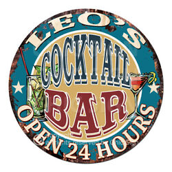 Cpco-0168 Leo's Cocktail Bar Tin Sign Valentine Father's Day Christmas Gift