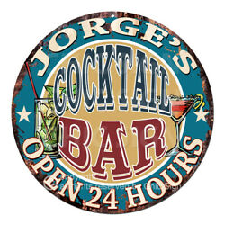 Cpco-0175 Jorge's Cocktail Bar Tin Sign Valentine Father's Day Christmas Gift