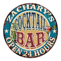 Cpco-0181 Zachary's Cocktail Bar Tin Sign Valentine Father's Day Christmas Gift
