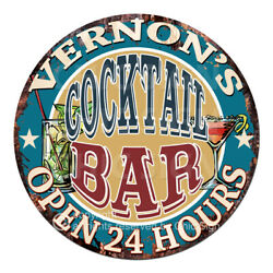Cpco-0185 Vernon's Cocktail Bar Tin Sign Valentine Father's Day Christmas Gift