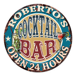 Cpco-0186 Roberto's Cocktail Bar Tin Sign Valentine Father's Day Christmas Gift