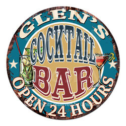 Cpco-0188 Glen's Cocktail Bar Tin Sign Valentine Father's Day Christmas Gift
