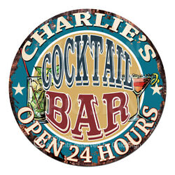 Cpco-0197 Charlie's Cocktail Bar Tin Sign Valentine Father's Day Christmas Gift