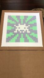 Space Invader | Sunset Print | Green & Blue | Signed Numbered Embossed | OTI