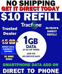 TRACFONE $10 ⭐ 1.5 GB w BONUS* DATA REFILL FAST ⚡ to PHONE ⚡ GET IT TODAY