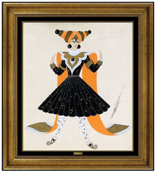 Erte Original Gouache Painting Signed Costume Dress Design Necklace Deco Artwork
