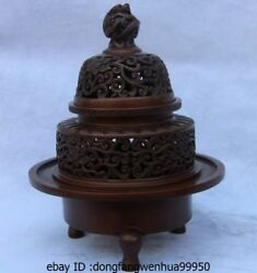 Chinese Royal Palace Pure Red Copper Dragon Beast Flower Incense Burner Censer