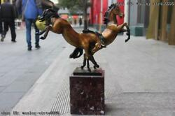Abstract Classic Brass Color Copper Zodiac Lucky Two Horse Art Sculpture Statue
