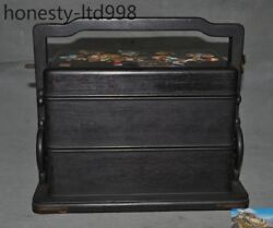 Chinese Rosewood Wood Inlay Shell Shoushan Stone Flower Butterfly Food Boxs Box