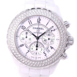 AUTHENTIC CHANEL Chronograph J12 Watches White ceramic mens WhiteDial