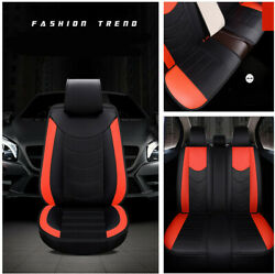 Luxury 3D Black+Red Soft Comfort PU Leather Car Cushion Seat Cover Protector Set